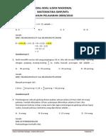 Soal Soal Dan Pembahasan UN Matematika SMP 2010