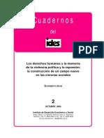 Los Derechos Humanos y La Memoria de La Violencia Política y La Represión.
