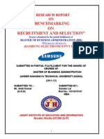 """RecruitA RESEARCH REPORT ON  """"BENCHMARKING  ON  RECRUITMENT AND SELECTION"""" ment - Samsung"""