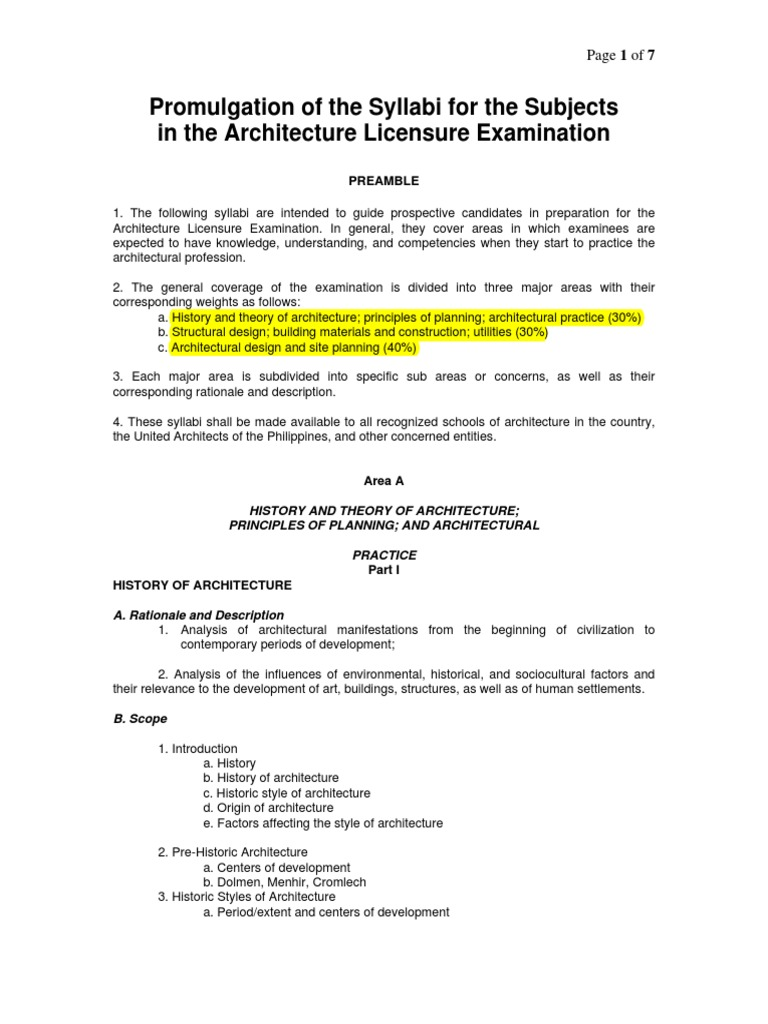 Syllabi for the Subjects in the Architecture Licensure Examination ...