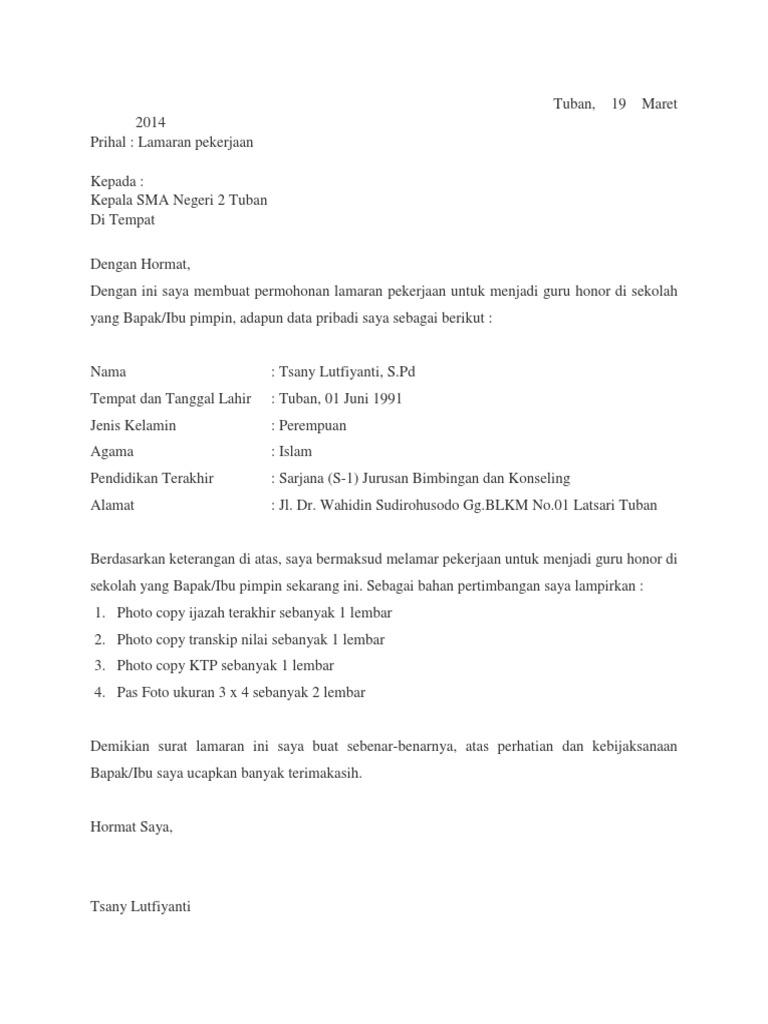 Contoh Surat Lamaran Kerja Guru Smk Contoh Lif Co Id