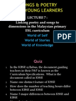 LECTURE 7 Linking Poetry and Songs to Dimensions in the Malaysian Primary ESL Curriculum