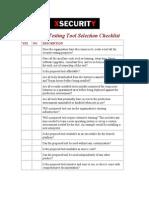 Testing Tools - Checklist