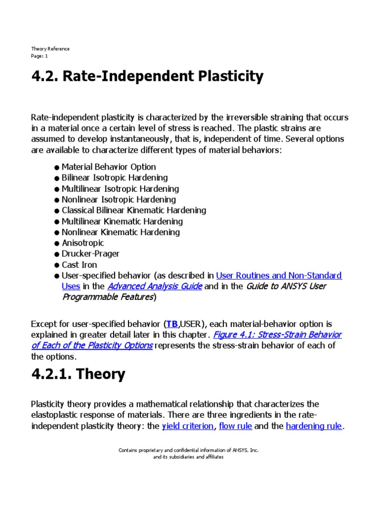 Rate Dependent Plasticity Theory Manual | Yield (Engineering