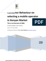 Consumer Behaviour Mobile Operator Kenya