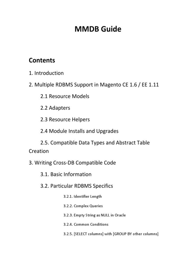 Rdbms Guide | Oracle Database | Databases