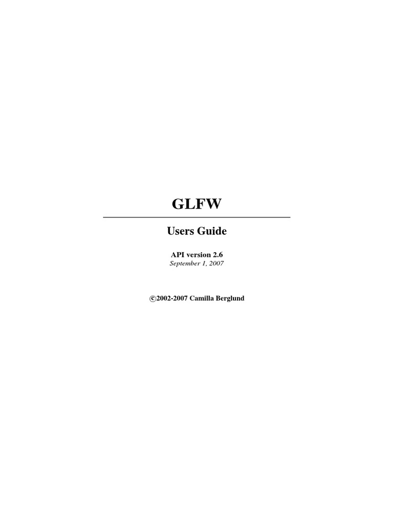 GLFW Users Guide | Operating System | Computer Keyboard