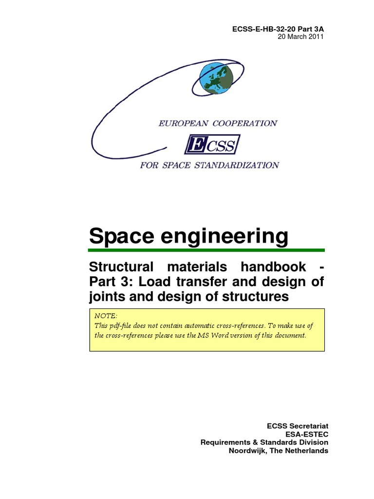 Ecss e hb 32 20part 3a structural materials handbook load ecss e hb 32 20part 3a structural materials handbook load transfer and design of joints buckling telescope fandeluxe Image collections