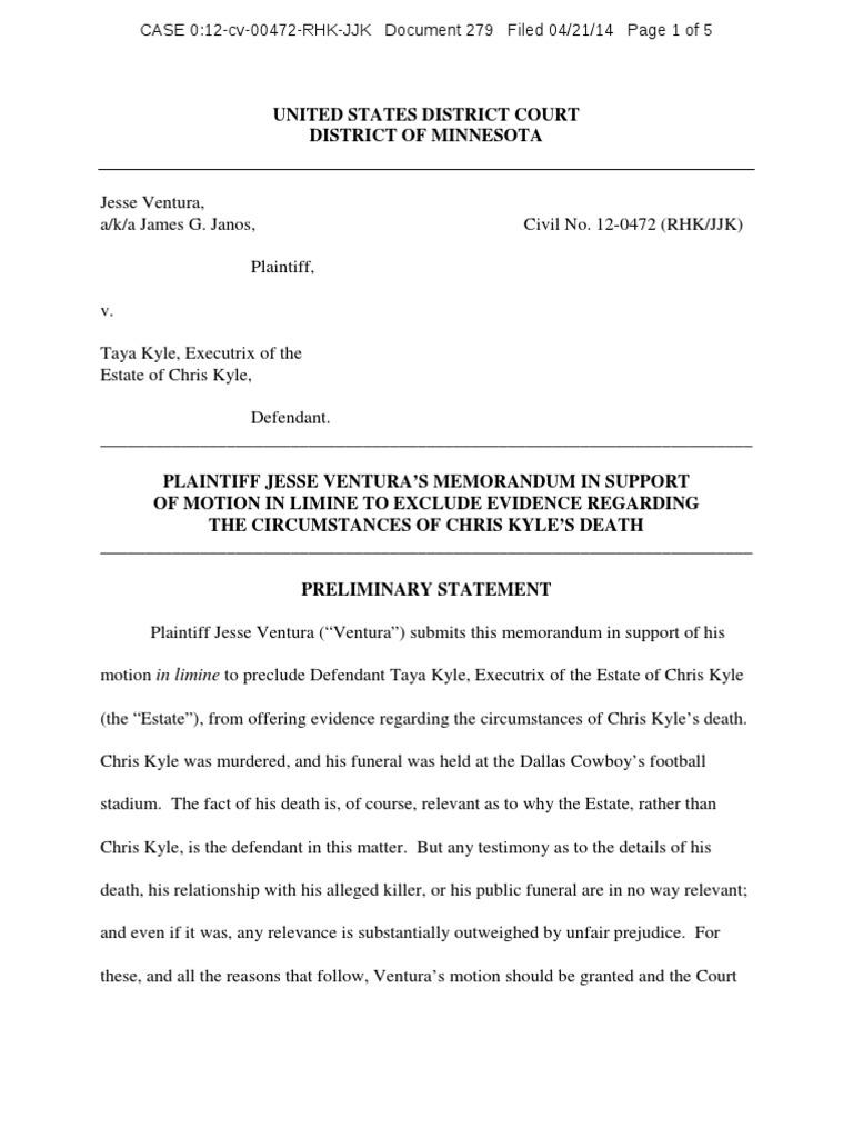Ventura on Chris Kyle's Murder | Relevance (Law) | Legal Procedure