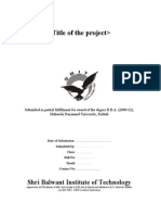 SBIT Summer Training Project Report Template for BBA Students 1.0