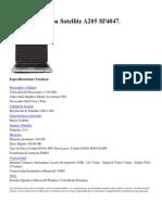 Notebook Toshiba Satellite A205 SP4047. Especificaciones.docx