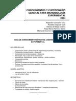 Guia de Conocimientos y Cuestionario General Para Microbiología Experimental 2014