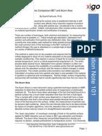 XiGo Note 101 Powder Surface Area Comparison BET and Acorn Area