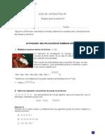 matemática 8° multiplicación numeros enteros