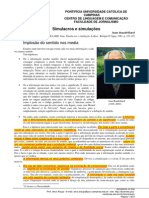 Excertos de Baudrillard  (Simulacros e simulação)