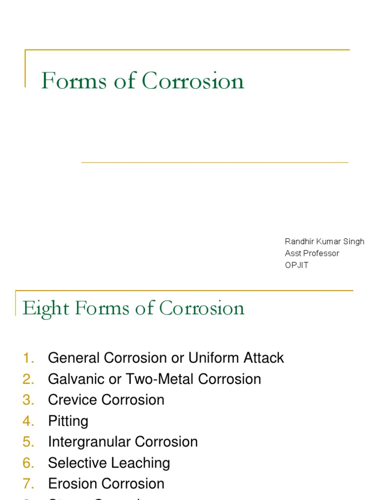 Forms Of Corrosion Corrosion Fracture
