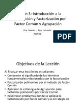 Apuntes Introduccion a Factorizacion Por Factor Comun y Agrupacion