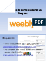 Instructivo de Como Elaborar Un Blog en Weebly