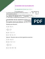 Ecuaciones e Inecuaciones Con Valor Absoluto
