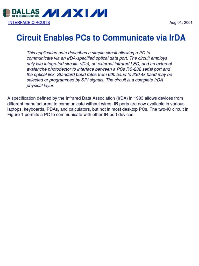 Circuit Enables Pcs To Communicate Via Irda Personal Computers Infrared Circuits Digital Social Media