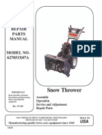Swisher 627851X07A Snow Thrower Parts Manual