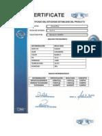 Certificado Del Estudiode Estabilidad Del Producto
