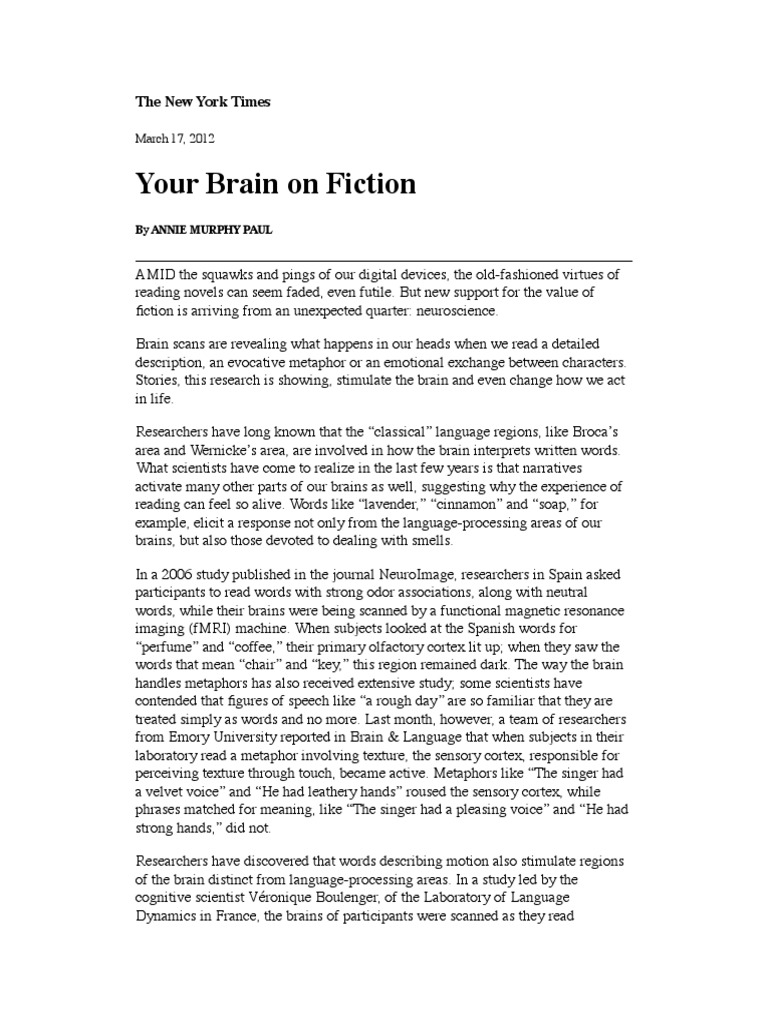 Your Brain on Fiction: The New York Times