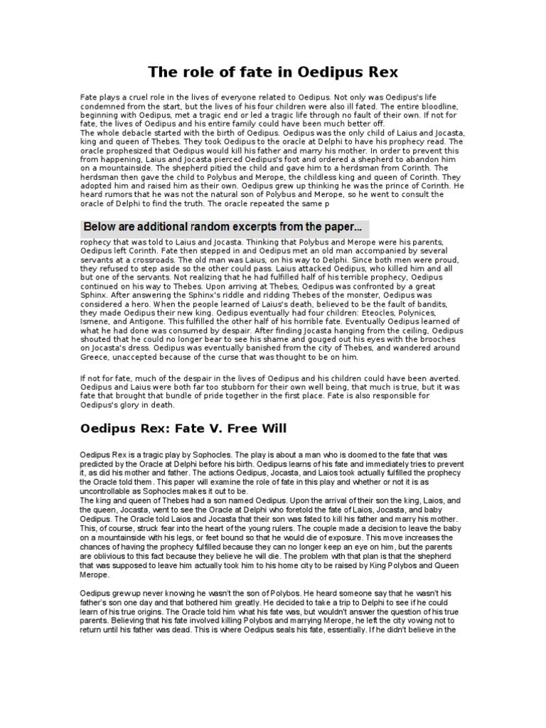 fate vs free will in oedipus rex