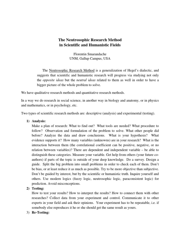 The Neutrosophic Research Method in Scientific and