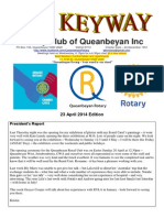 The Keyway - Weekly newsletter for the Rotary Club of Queanbeyan - 23 April 2014 Edition