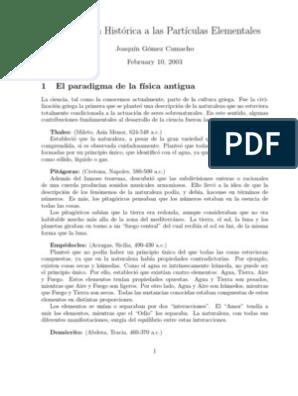 Joaquín Gómez Introducción Histórica A Las Partículas