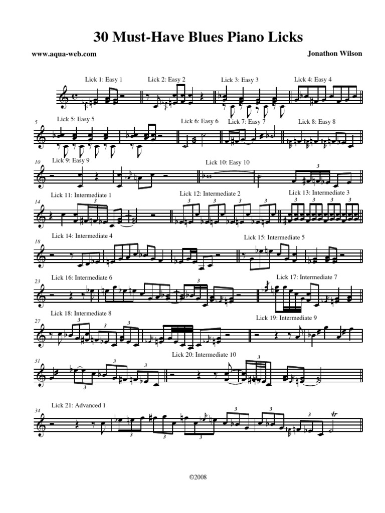 Must Have Blues Piano Licks