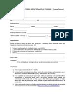 Formulário Para Informações Cadastrais Pf