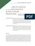 Faria, António - Uma Inscrição Em Caracteres Do Sudoeste
