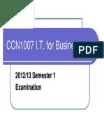CCN1007 Examination Common Information 2012_13 Sem1