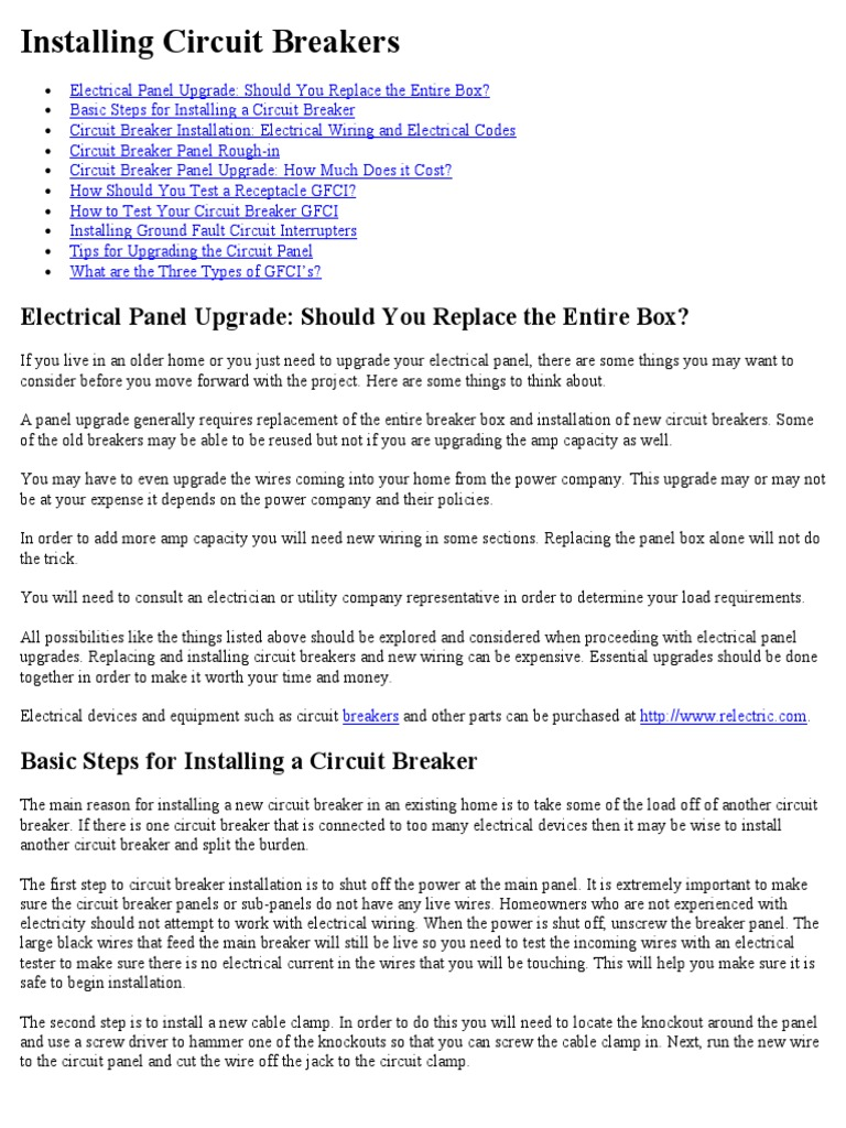 Installing Circuit Breakers Electrical Wiring Wire Trip Of A Breaker Your Home Together With