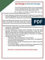 Environmental Change v Climate Change