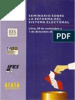 """2002  Seminario Sobre La Reforma Del Sistema Electoral """"Impacto de los sistemas electorales en el Perú"""""""