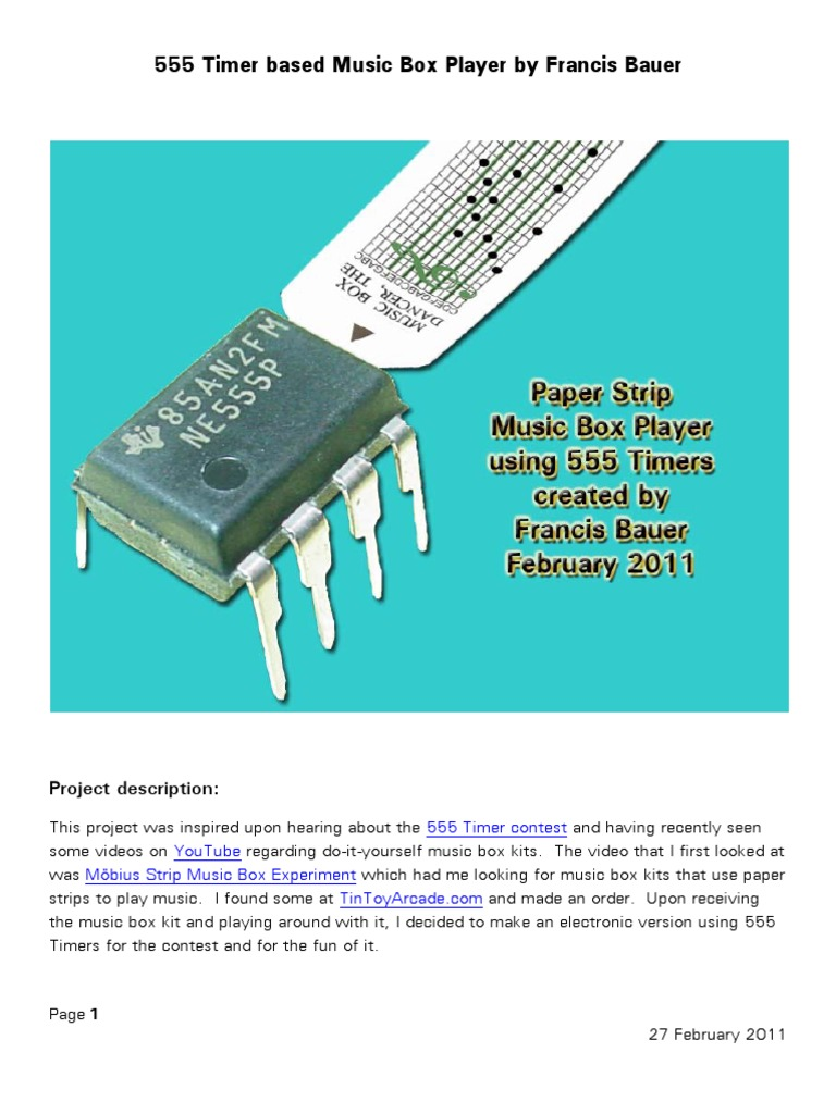 Music Box Player Project Amplifier Resistor Clap Switch Circuit Using Ne555 Timer Ic Circuits Gallery