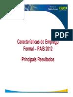 Mte - Rais 2012 Carcteristica Do Mercado Formal
