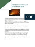 Um Morto e 27 Casas Destruídas Em Incêndios Na Austrália