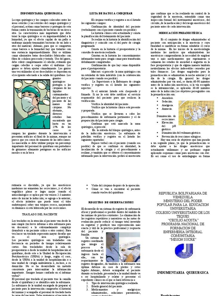 Circuito Quirurgico : Indumentaria quirurgica