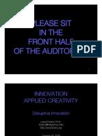 Forlano Innovation Disruptive Innovation 10-17-09
