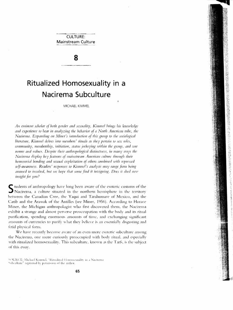 ritualized homosexuality in nacirema heterosexuality