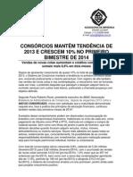 Consórcio Realiza - Consórcio Mantem Tendencia de 2013 e Cresce 10 Por Cento No Primeiro Bimestre de 2014