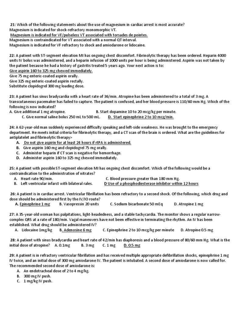 Acls post test cardiac arrest cardiopulmonary resuscitation 1betcityfo Gallery