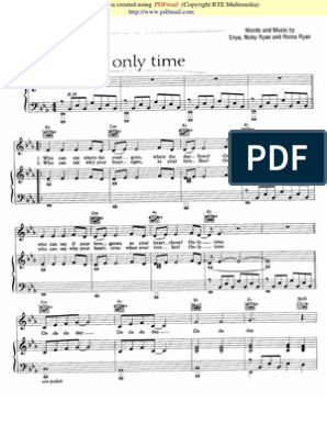 7481675 Enya Only Time Piano Partitura Sheet Music Noten
