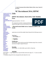 HPPSC Recruitment 2014 Www.hp.Gov