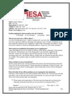 MESA Officer Application 2014 - 2015