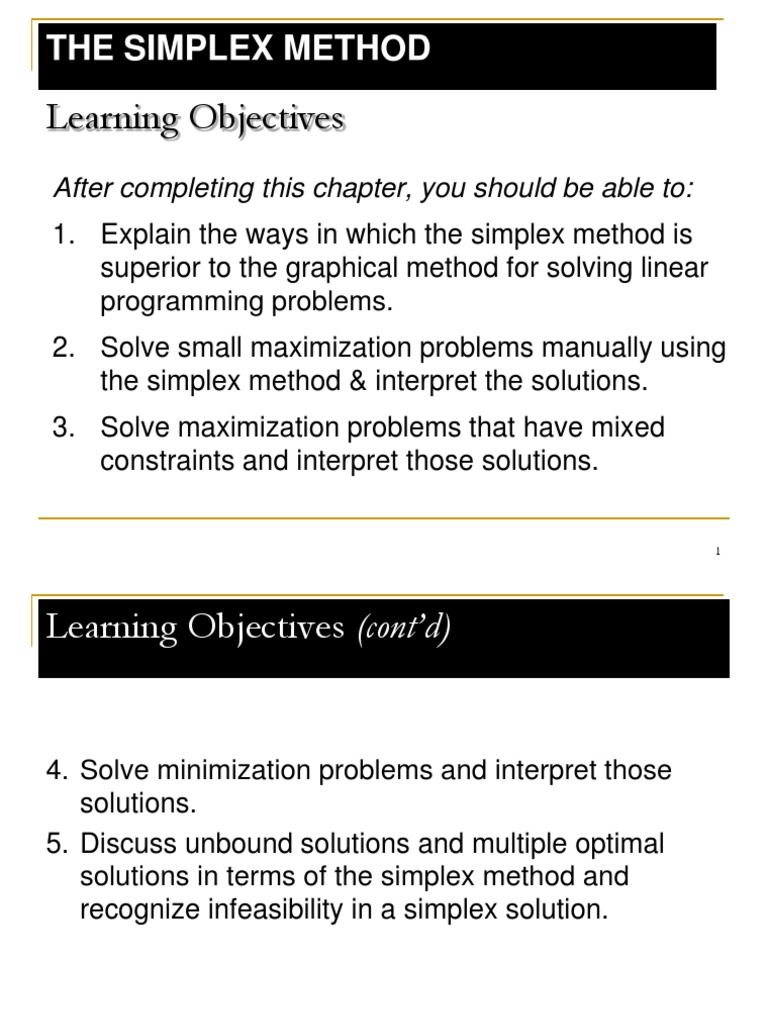 Linear Programming Simplex Method Ppt